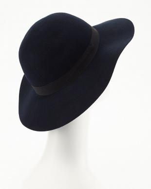 ネイビー  フェルト女優帽見る