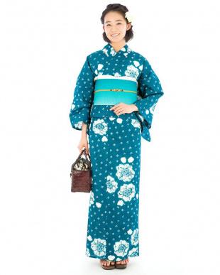ブルーグリーン系 ランダム花調 絞り浴衣税抜29,000円福袋 WOMEN見る