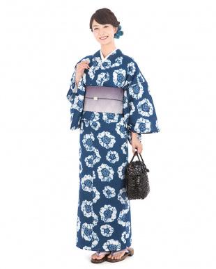 ブルー系 梅調B 絞り浴衣税抜29,000円福袋 WOMEN見る
