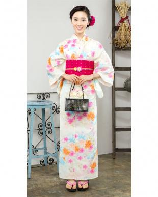 クリーム系 カラフル花 造り帯セット税抜4,800円福袋 WOMEN見る