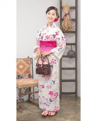 アイボリー系 花ミックス 造り帯セット税抜4,800円福袋 WOMEN見る