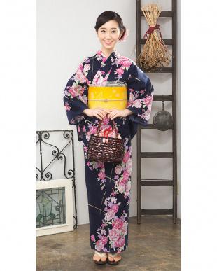 ネイビー系 薔薇&花 造り帯セット税抜4,800円福袋 WOMEN見る