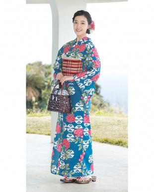 ブルー系 花&和柄調 造り帯セット税抜5,800円福袋 WOMEN見る