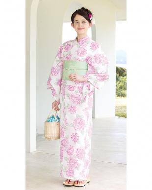 ホワイト系 紫陽花 造り帯セット税抜5,800円福袋 WOMEN見る