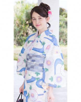 アイボリー系 花&流水 造り帯セット税抜5,800円福袋 WOMEN見る