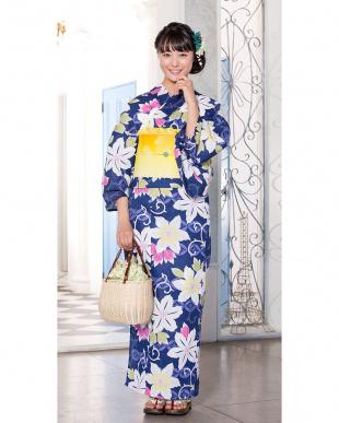 ネイビー系 花&唐草模様調 造り帯セット税抜4,900円福袋 WOMEN見る