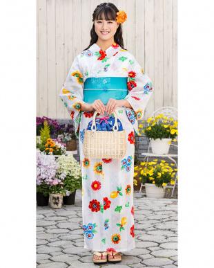 ホワイト系 マルチカラー花 造り帯セット税抜4,900円福袋 WOMEN見る