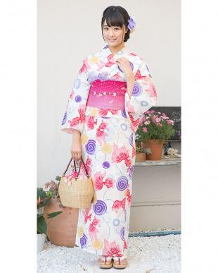 ホワイト系 金魚&渦巻き 造り帯セット税抜4,900円福袋 WOMEN見る