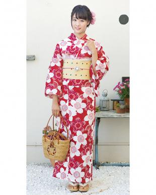 レッド系 大桜 造り帯セット税抜4,900円福袋 WOMEN見る
