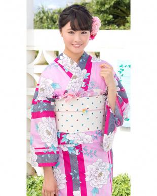 ピンク系 配色縞&花 造り帯セット税抜4,900円福袋 WOMEN見る