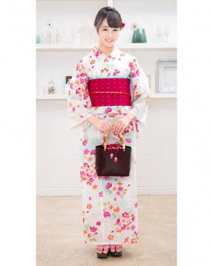アイボリー系 暖色花 造り帯セット税抜4,900円福袋 WOMEN見る