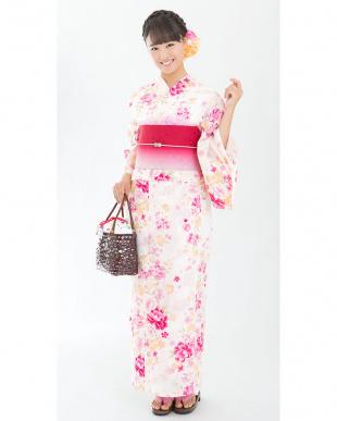 ホワイト系 ぼかしデザイン花 造り帯セット税抜4,900円福袋 WOMEN見る