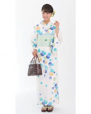 ホワイト系 ぼかし水玉 造り帯セット税抜4,900円福袋 WOMEN見る