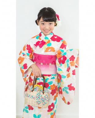 ホワイト系 マルチカラー花 スクール造り帯セット税抜5,500円福袋 GIRL見る