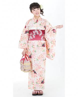 アイボリー系 花&櫛 スクール造り帯セット税抜5,500円福袋 GIRL見る