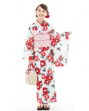 ホワイト系 フラワー スクール造り帯セット税抜5,500円福袋 GIRL見る