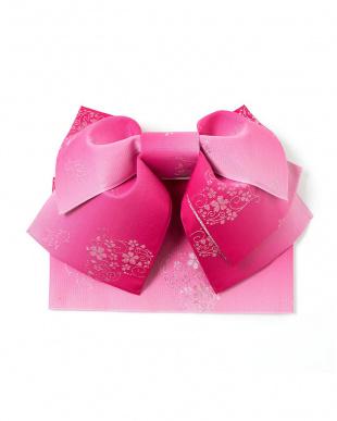 ピンク系 花&金魚モチーフ 造り帯セット税抜2,200円福袋 WOMEN見る