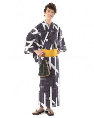 チャコールネイビー系 ペイント風 メンズワンタッチ帯セット税抜5,900円福袋 MEN見る