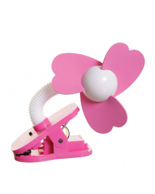 ホワイト×ピンク ベビーカー扇風機 クリップオン ファン見る