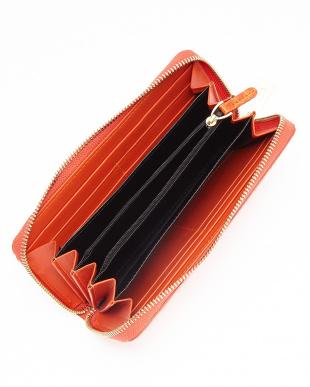 オレンジ  クロコダイルラウンドファスナーバックジップポケット長財布見る