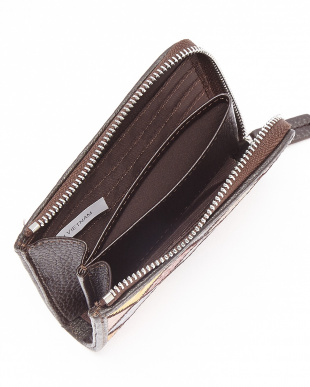 マルチ・ブラウン  クロコダイルパッチワーク L字ファスナーコンパクト財布見る
