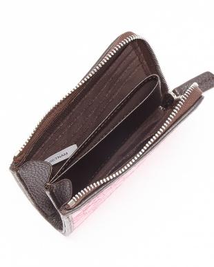 ピンクローズ  クロコダイルパッチワーク L字ファスナーコンパクト財布見る