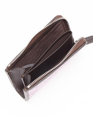 パープル  クロコダイルパッチワーク L字ファスナーコンパクト財布見る