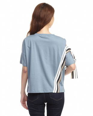 スモーキーブルー サイドストライプ デザインTシャツ見る