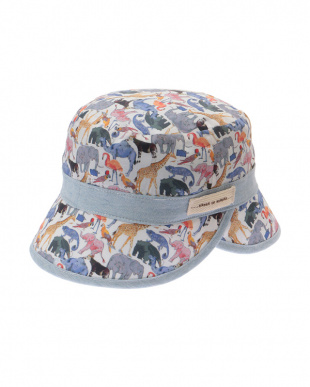 ブルー Queue for the Zooリバーシブル帽子見る