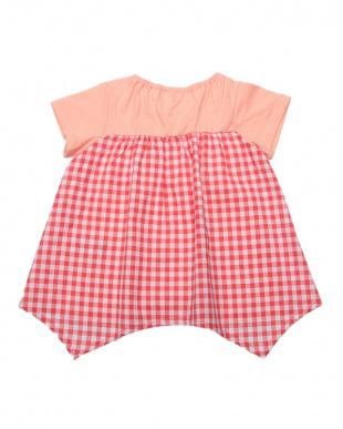 S・ピンク ギンガムリボンTシャツ見る