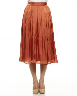 オレンジ シャイニーギャザースカート見る