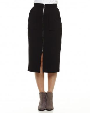 ブラック フロントジップタイトスカート見る