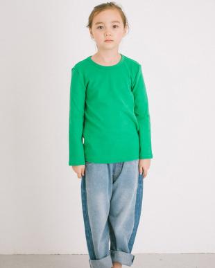 GREEN  ふわっと ストレッチ ベーシック長袖Tシャツ見る