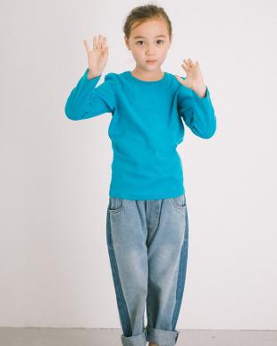 BLUE ふわっと ストレッチ ベーシック長袖Tシャツ見る