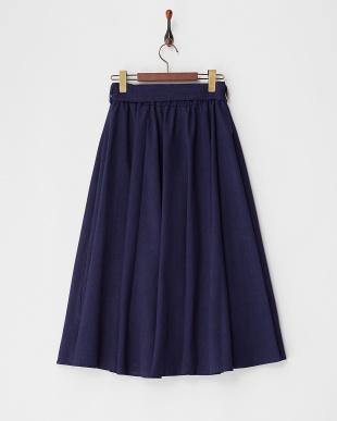 ネイビー ロングギャザースカート見る