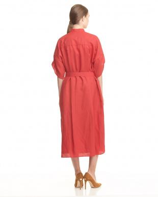 レッド スタンドカラーシャツドレス見る