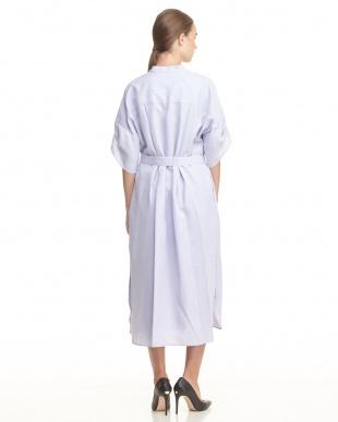 ラベンダー スタンドカラーシャツドレス見る