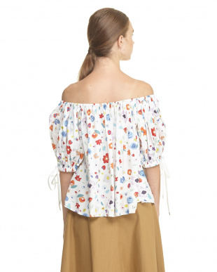 WHITE PRINTED OFF SHOULDER BLOUSE見る