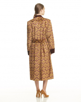 BROWN DAMASK JACQUARD OVER SIZED ROBE見る