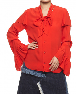 RED RAYON CREPE PUSSY BOW BLOUSE見る