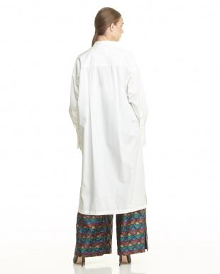 WHITE WHITE COTTON POPELINE SHIRT DRESS見る
