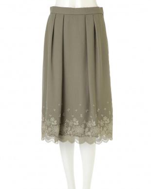 カーキ ◆大きいサイズ◆スカラ刺繍スカート Aylesbury L見る