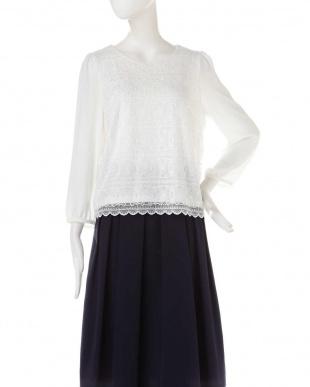 オフホワイト1 ◆大きいサイズ◆ボーダーチュール刺繍ブラウス Aylesbury L見る