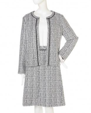 白×黒1 ◆大きいサイズ◆クルーネックファンシーツィードジャケット Aylesbury L見る