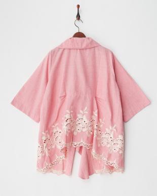 ピンク フラワー刺繍シャツ見る