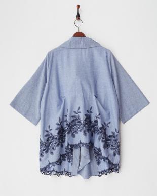 ブルー フラワー刺繍シャツ見る
