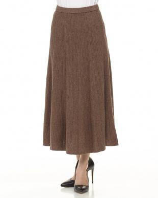 グレー 0751012015カシミア混フレアニットスカート見る