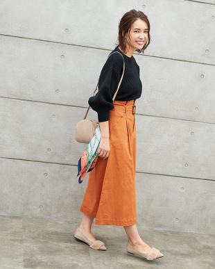 オレンジ ウエストベルト付きロングスカート見る