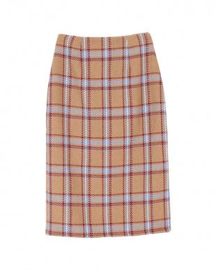 キャメル フェイクツイードチェックタイトスカート見る