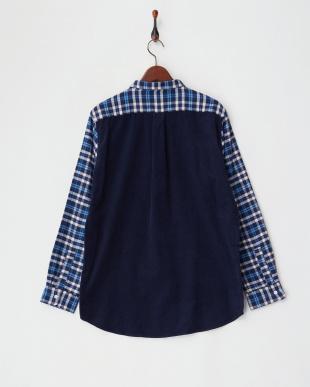 NVY 切替チェックネルシャツ4見る